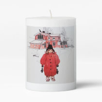 Standing in Winter Snow Pillar Candle
