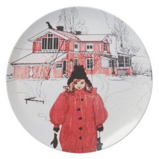 Standing in Winter Snow Party Plates