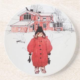 Standing in Winter Snow Sandstone Coaster