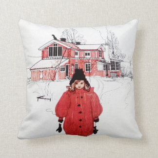 Standing in Winter Snow Throw Pillow