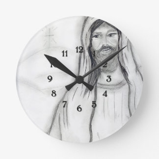 Standing Jesus Round Clock