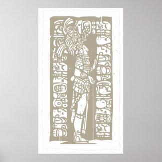 Standing Mayan Woodblock Print