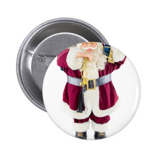 Standing model of Santa Claus isolated on white Button
