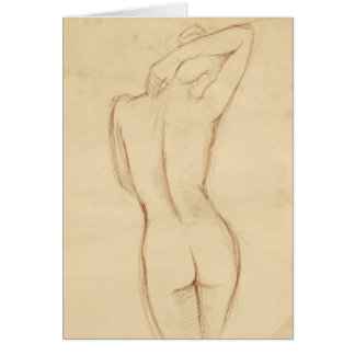 Standing Nude Female Drawing Card