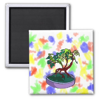 Standing On Root Elm Like Bonsai Tree 2 Inch Square Magnet