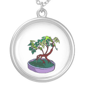 Standing On Root Elm Like Bonsai Tree Round Pendant Necklace