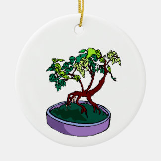Standing On Root Elm Like Bonsai Tree Double-Sided Ceramic Round Christmas Ornament
