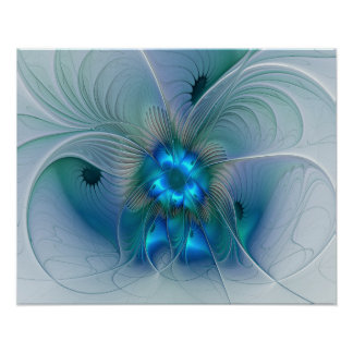 Standing Ovations, Abstract Blue Turquoise Fractal Poster