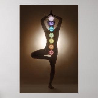 Standing pose, yoga, yogi, chakras, chakra, aura poster