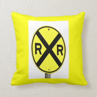 Standing Railroad Crossing Sign Pillow