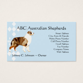 Standing Red Merle Aussie on Blue Business Card