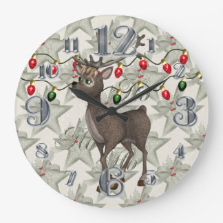 Standing Reindeer with Christmas Lights Large Clock