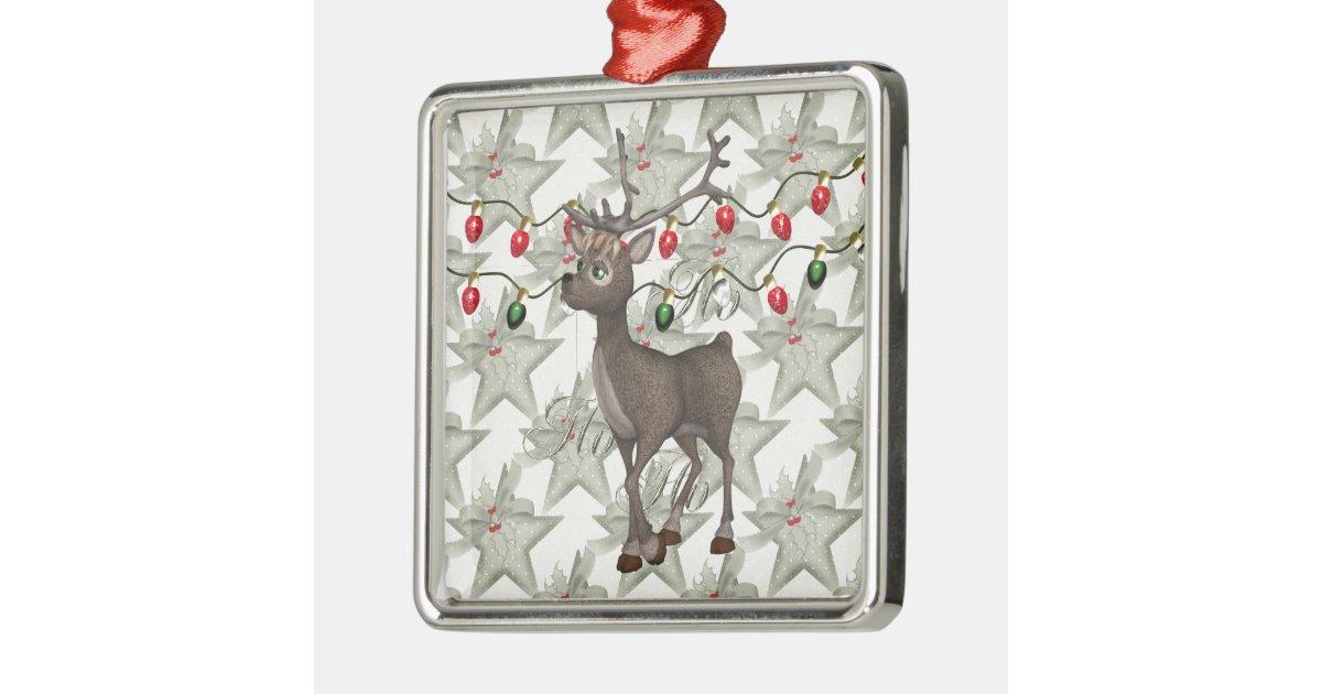 Standing reindeer with christmas lights metal ornament