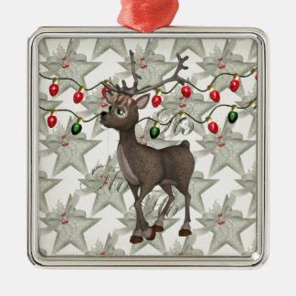 Standing Reindeer with Christmas Lights Square Metal Christmas Ornament