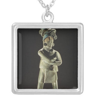 Standing royal figure silver plated necklace