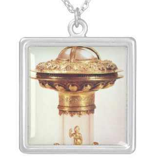 Standing salt, rock crystal with silver gilt square pendant necklace