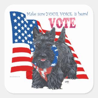 Standing Scottie VOTE Square Stickers