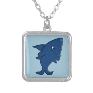 Standing shark design matching jewelry set square pendant necklace