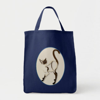 Standing Siamese Kitty Oval  Bags