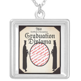 Standing Tall - Graduation Diploma Photo Frame Silver Plated Necklace