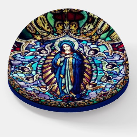 Standing Virgin Mary Surrounded by Angels Glass Paperweight