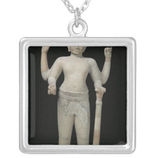 Standing Vishnu Silver Plated Necklace
