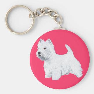 Standing West Highland White Terrier Basic Round Button Keychain