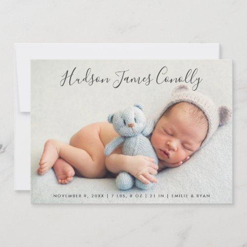Standout Name  Modern Script Baby Boy Birth Announcement