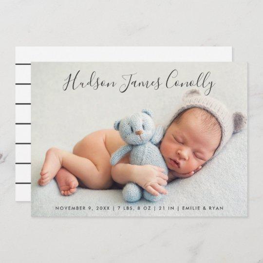Standout Name Modern Script Baby Boy Photo Birth Announcement