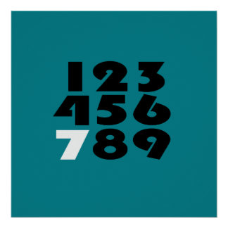 Standout Seven Turquoise Birthday Poster