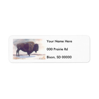 Stands Alone Bison Painting Label