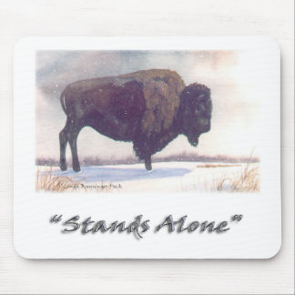 Stands Alone Winter Bison Watercolor Mouse Pad
