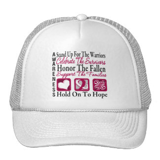 StandUp Celebrate Honor Collage Head & Neck Cancer Trucker Hats