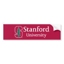 "Stanford University with Cardinal Block ""S"" & Tree Bumper Sticker"