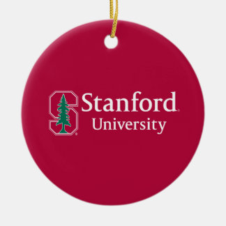 "Stanford University with Cardinal Block ""S"" & Tree Ceramic Ornament"