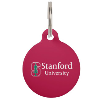 """Stanford University with Cardinal Block """"S"""" & Tree Pet ID Tags"""