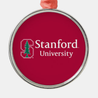 "Stanford University with Cardinal Block ""S"" & Tree Metal Ornament"