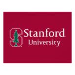 """Stanford University with Cardinal Block """"S"""" & Tree Poster"""