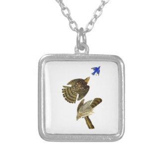 Stanley Hawk John James Audubon Birds of America Square Pendant Necklace
