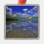 Stanley Lake in the Sawtooth Mountains of Idaho Square Metal Christmas Ornament