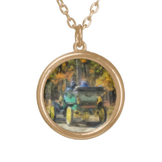 Stanley Steamer Automobile Gold Plated Necklace