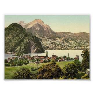 Stansstad, Pilatus, Switzerland classic Photochrom Poster