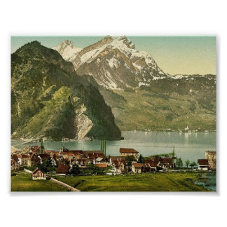 Stanstaad and Pilatus, Lake Lucerne, Switzerland c Poster