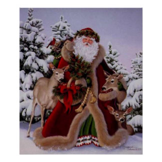 Stanta Claus and the Forest Scene Poster