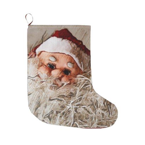 Stanta Claus with bushy beard Large Christmas Stocking