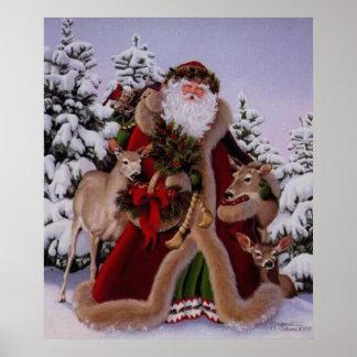 Stanta Claus y el poster de la escena del bosque