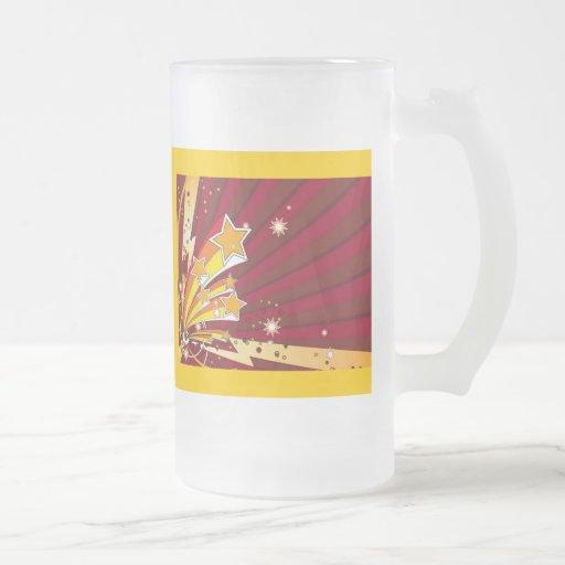 star_006 16 oz frosted glass beer mug