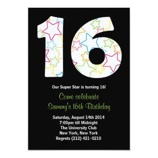 Star 16th Birthday Party Invitation