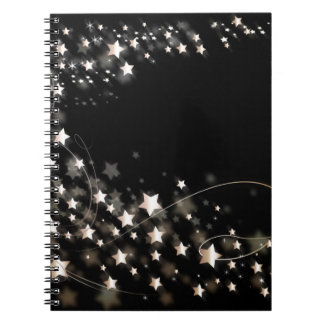 star-427748 DIGITAL BLACK SILVER WHITE SHINY STAR Spiral Note Books