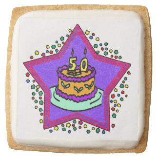 Star 50th Birthday Square Premium Shortbread Cookie